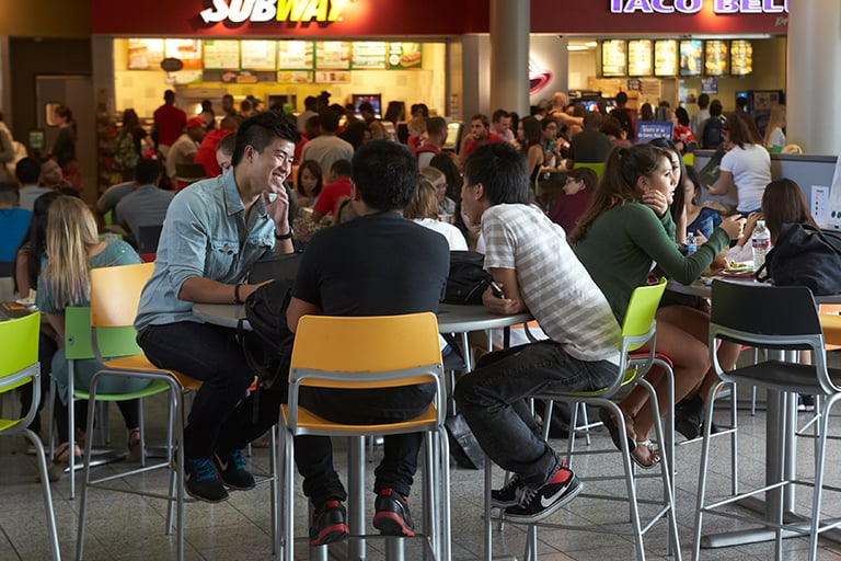 Students at the food court of the Student Union.