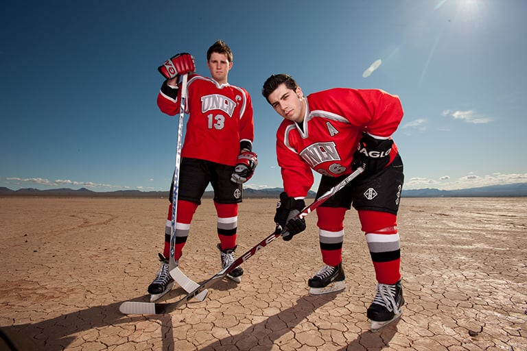 Two hockey players from the UNLV team