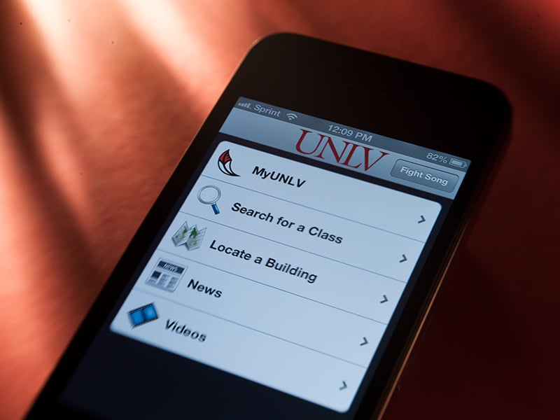 "alt=""Smartphone with UNLV links and information"""