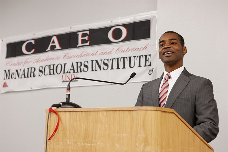 Keith Rogers speaks at a CAEO event.