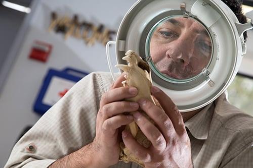 Professor studies bone under a magnifying glass.