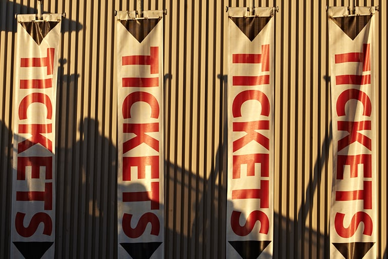 Banners outside of UNLV box office
