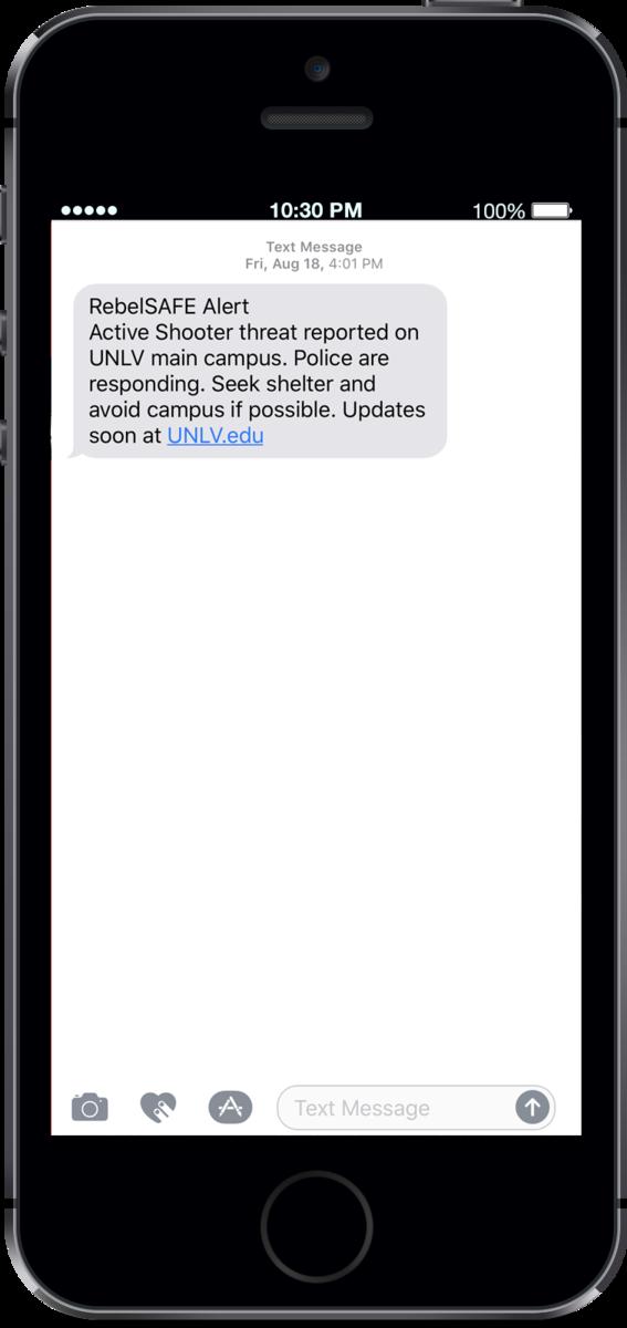 Screenshot of an alert text message
