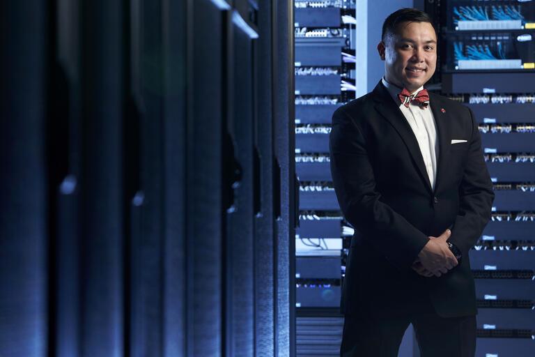 man in suit standing