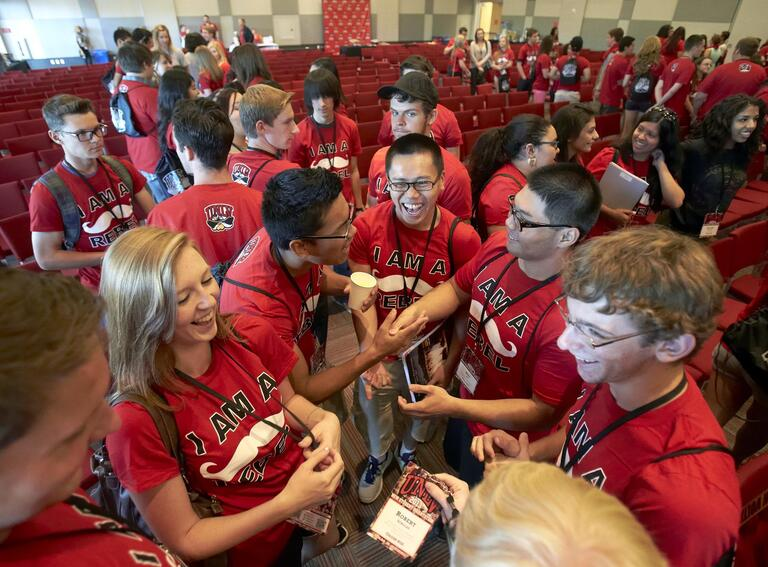 Group of students with red U-N-L-V t-shirts on.