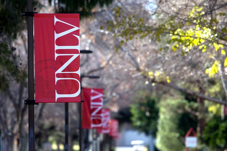 UNLV banners hang outside on campus