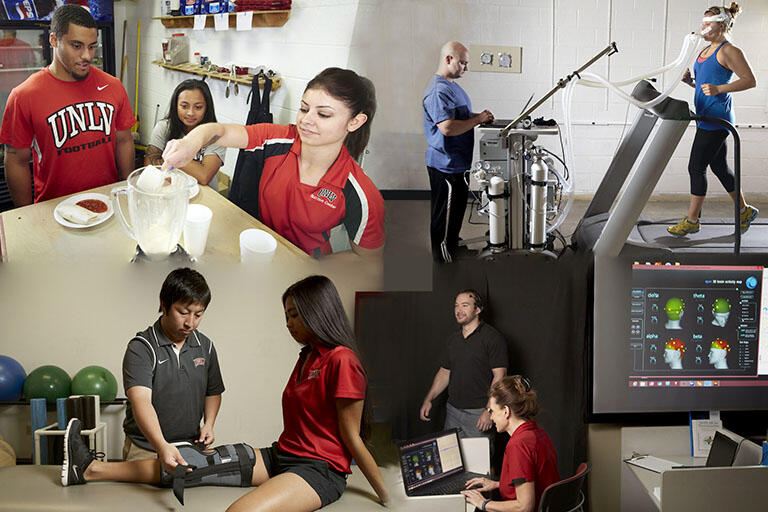 Collage of the four images: top left two students observing another make a nutritional smoothie, top right a trainer observing a patient run on a treadmill, bottom left trainer stabilizing a patient's knee, bottom right trainer performing a neurological test on a patient
